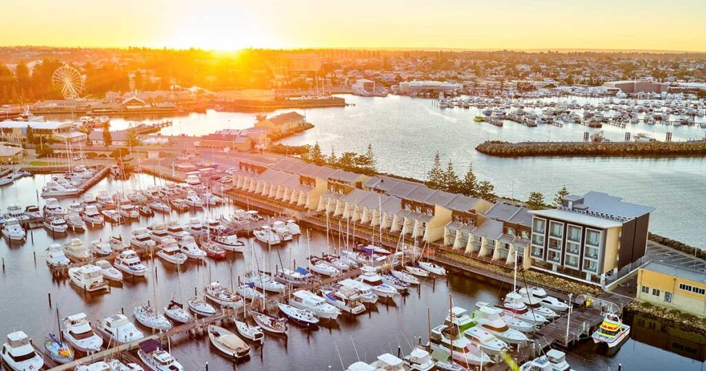 An aerial view of the beautiful Be.Fremantle apartments